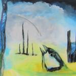 Glurb blurp sanoi talitiainen (2019), akryyli- ja öljyväri kankaalle, 40  x 46 cm
